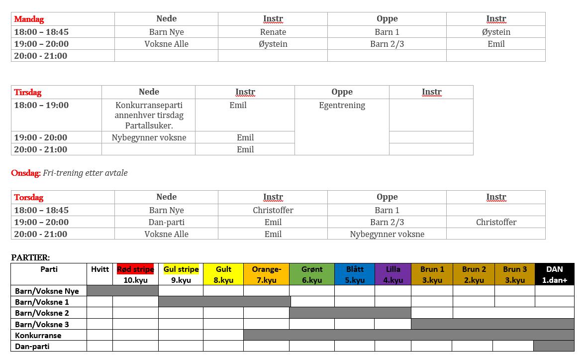 Timeplan Øygarden Karateklubb høsten 2020